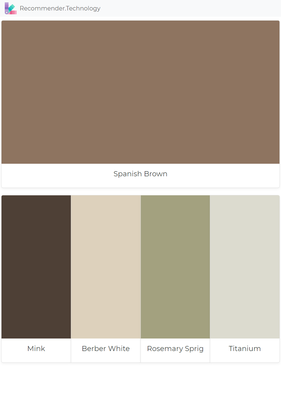 Spanish Brown Mink Berber White Rosemary Sprig Anium Paint Color Palettes