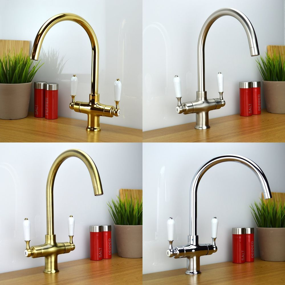Traditional Victorian Classic Twin White Lever Kitchen Sink Mixer ...