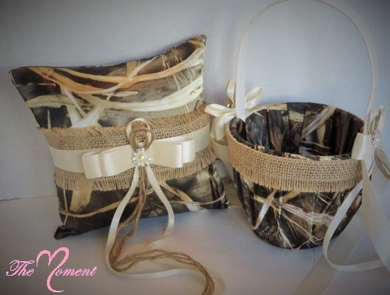 Realtree Max 4 Camo With Ivory Bows And Burlap Wedding Flower Girl Basket Or Ring Bearer Pillow