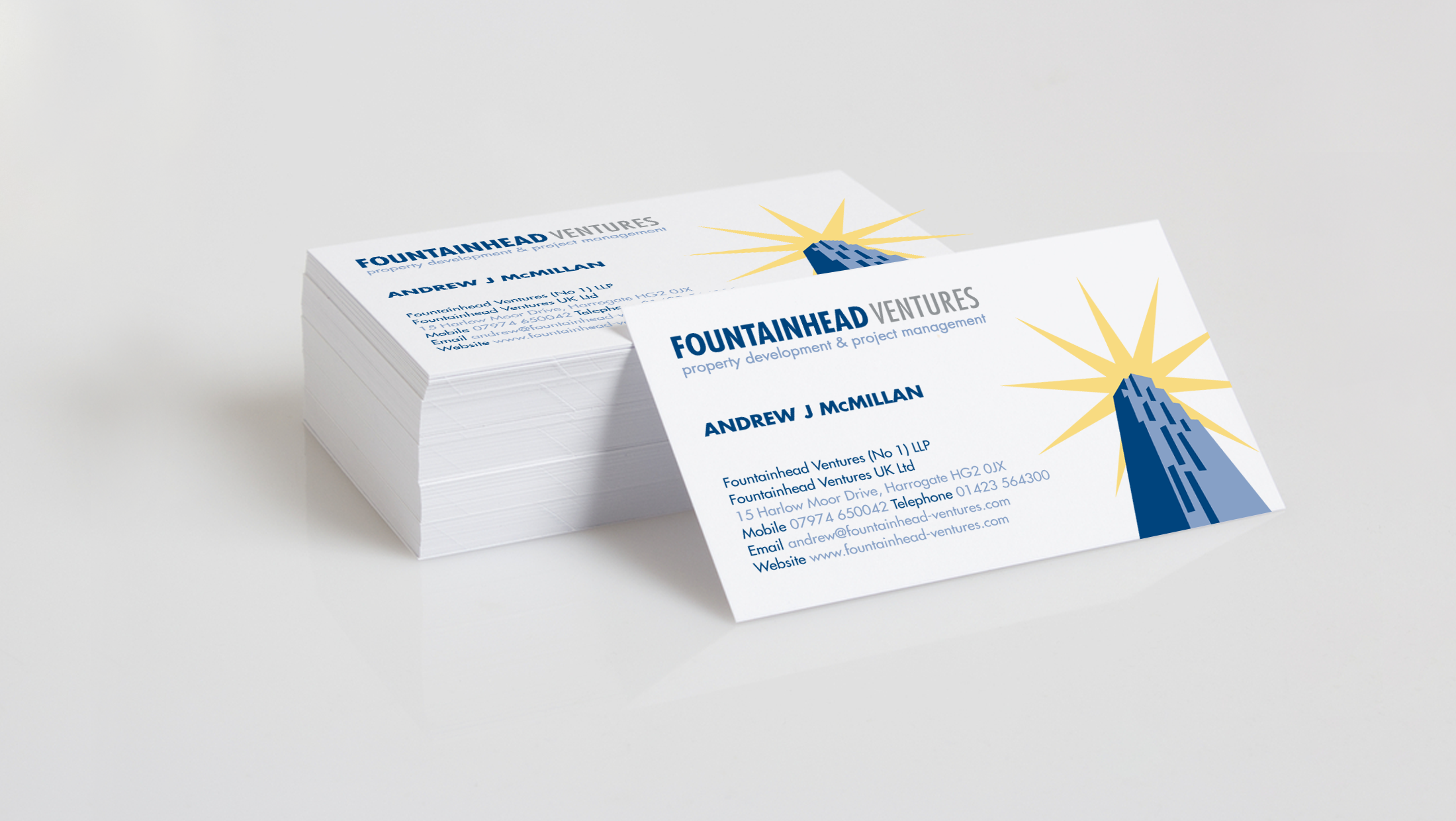 Business card design for fountainhead ventures our portfolio business card design for fountainhead ventures reheart Image collections