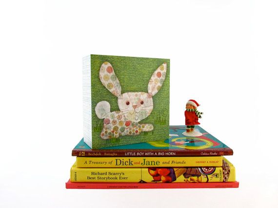 Bunny Rabbit 6X6 Wall ART Hanging for a Child room by WalterSilva, $39.95