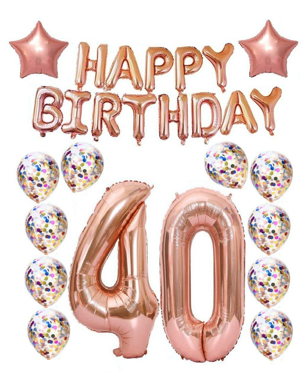 EBay Happy Birthday Balloon Banner Signs 40th Party Decorations Gold