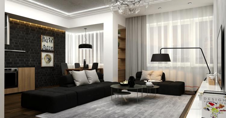 Moderne Wohnzimmer Idee In Schwarz-weiß Mit Backsteinwand Und ... Wohnzimmer Ideen Schwarz