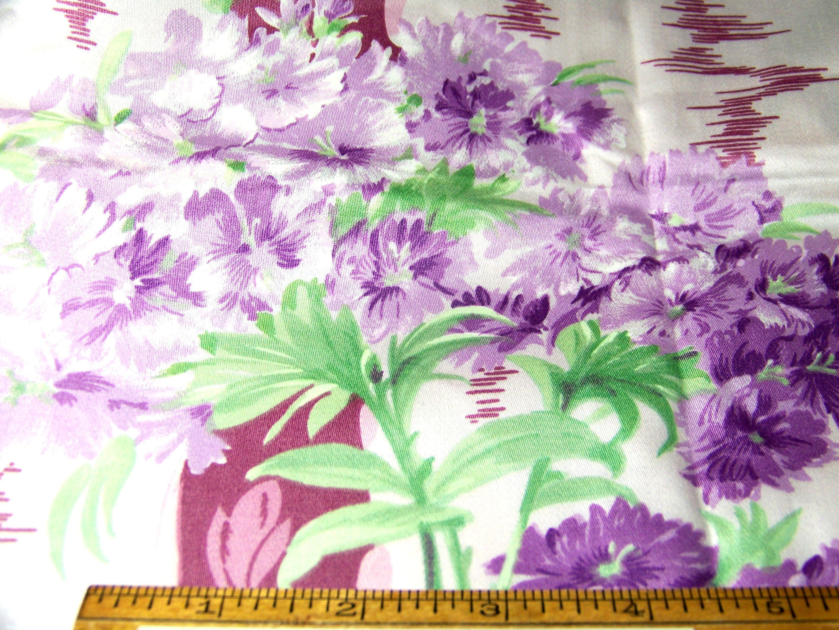 Vintage 1981 Made In Switzerland Cotton Fabric FLORAL