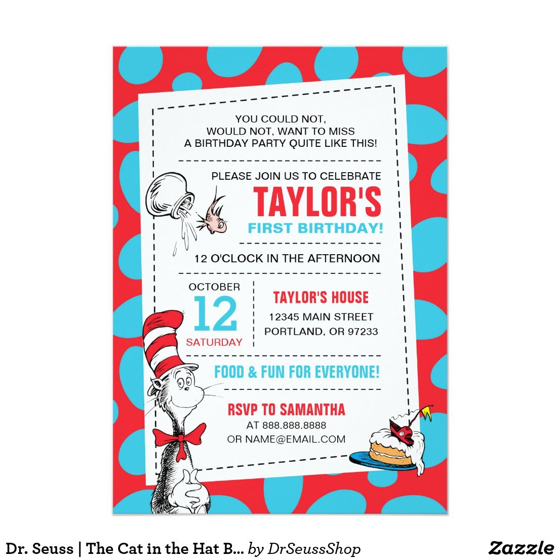 Dr. Seuss | The Cat in the Hat Birthday Card | Birthdays, Party ...