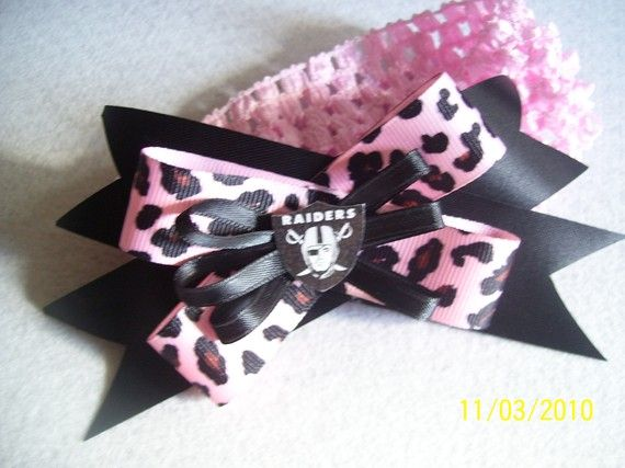 or adult sized headband bow Oakland Raiders elastic infant toddler