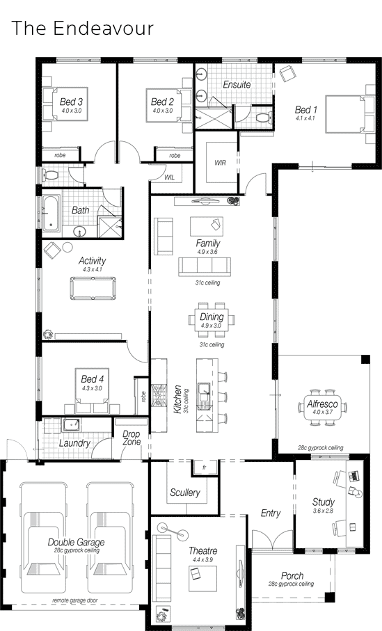 4 Bedroom Home Design Perth | The Endeavour | Ross North Homes ...