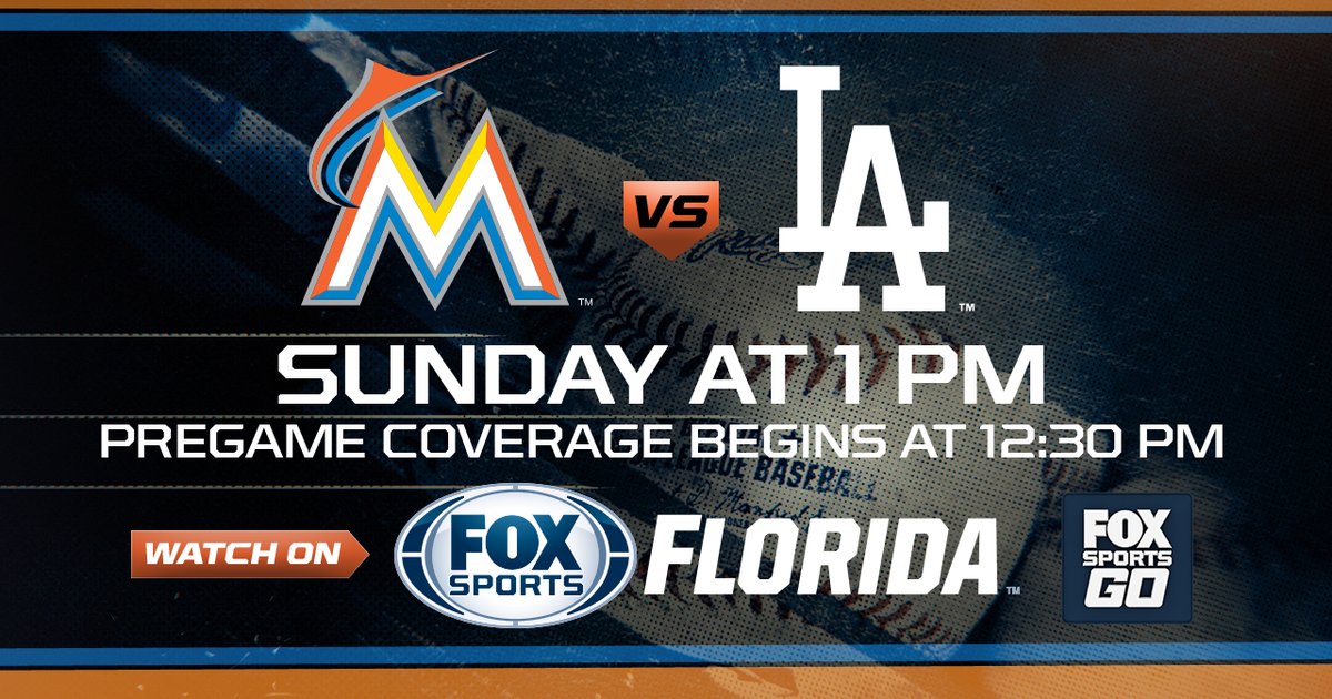 TV: FOX Sports Florida Time: Pregame coverage begins at 12:30 p.m. CAN'T GET TO A TV? WATCH IT LIVE ON FOX SPORTS GO  MIAMI — The Los Angeles Dodgers' chances at a three-game sweep just got better.  The Dodgers, who have won 28 of their past 32 games, lead the majors with a 63-29 record.  In...