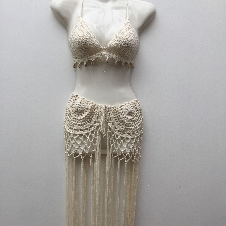 Paired Cowrie GypsyCrochetTassel Shell The Skirt Bikini With eD9H2IWbEY