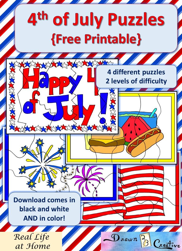 Printable 4th Of July Puzzles Fourth Of July 4th Of July Independence Day Activities [ 1056 x 768 Pixel ]