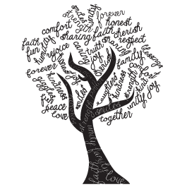 tree word art wall stickers scrapbook pinterest word art tree