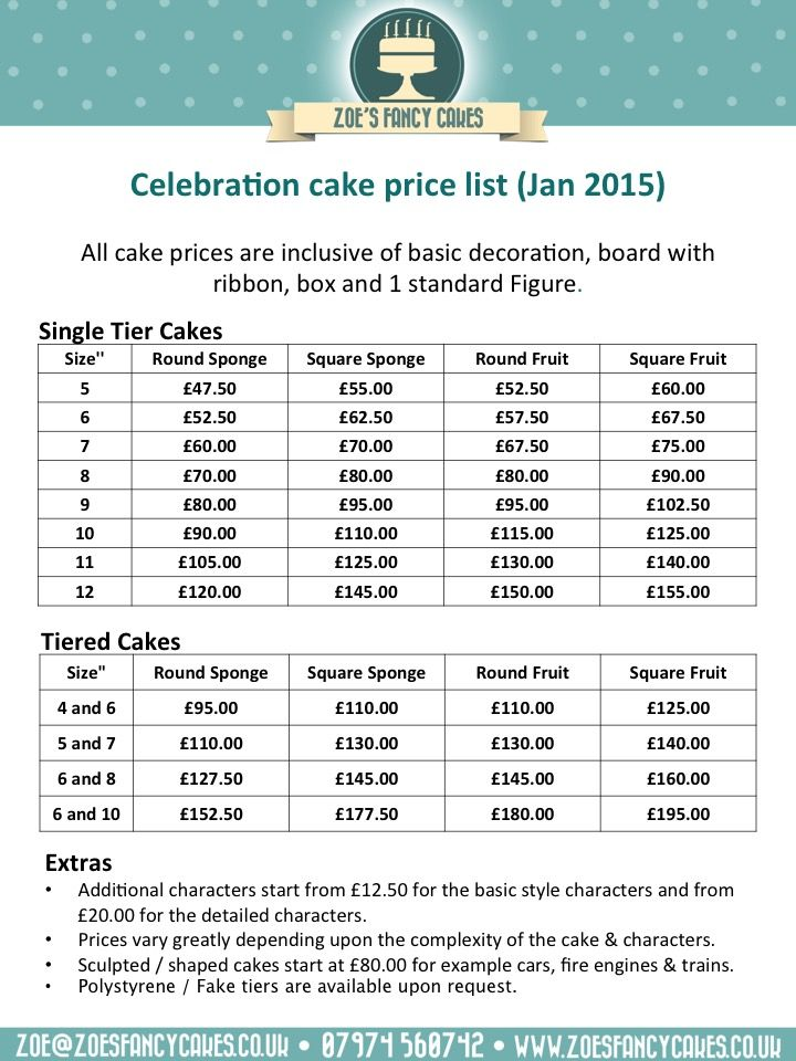 Cake Price List Cakepins Ideas Pinterest Pricing And