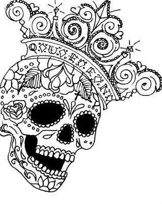 LizVengeance Art I Heart Sugar Skulls Printable Coloring PagesAdult
