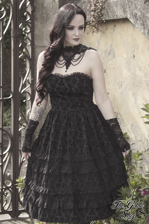 b5fbf7c12901 Flocked Lolita by Dark in Love is made from a gorgeous flocked fabric. The  bodice is fitted with lace trim along the … | Gothic and steampunk lifestyle  ...