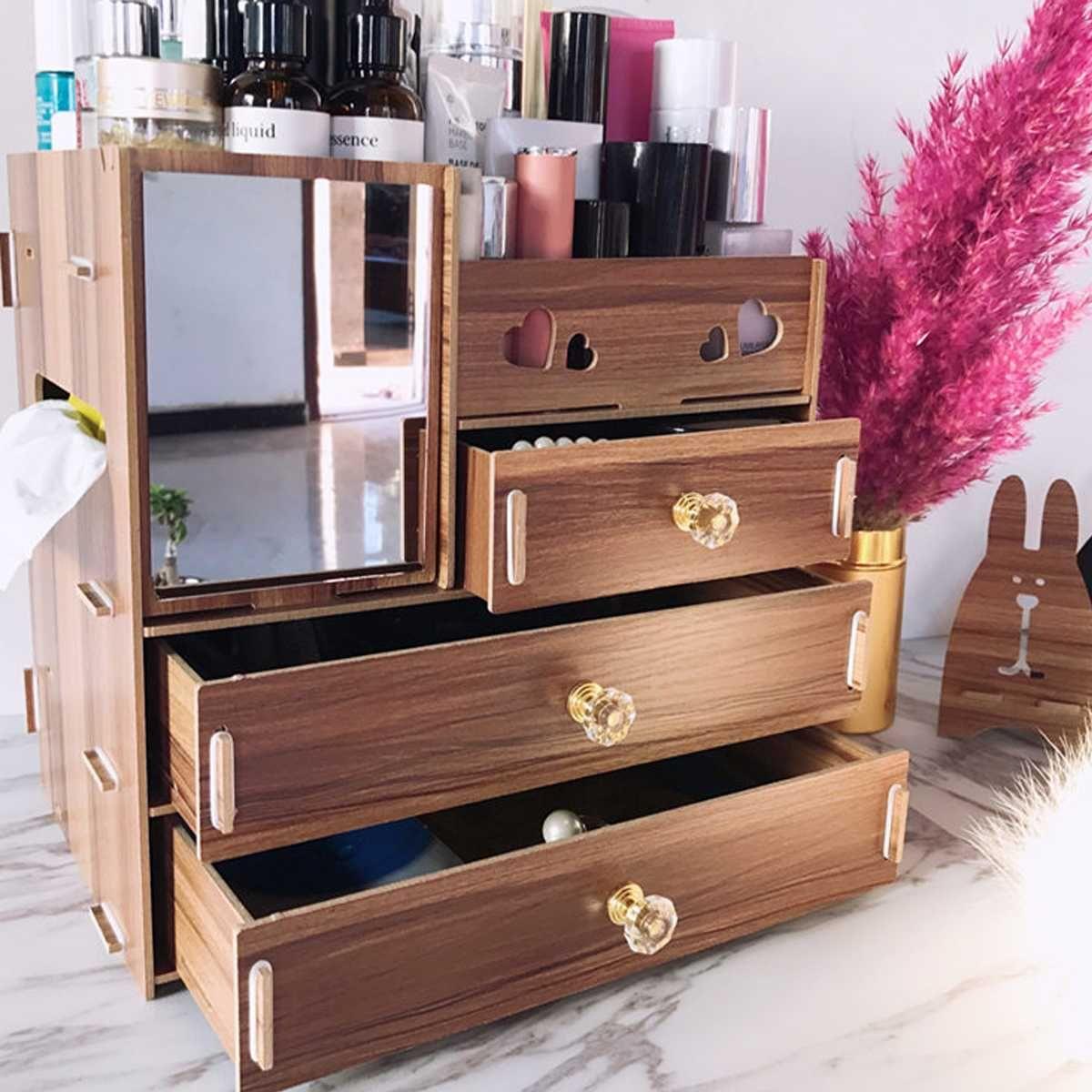 Diy Desktop Wooden Storage Box Multifunctional Wooden Makeup