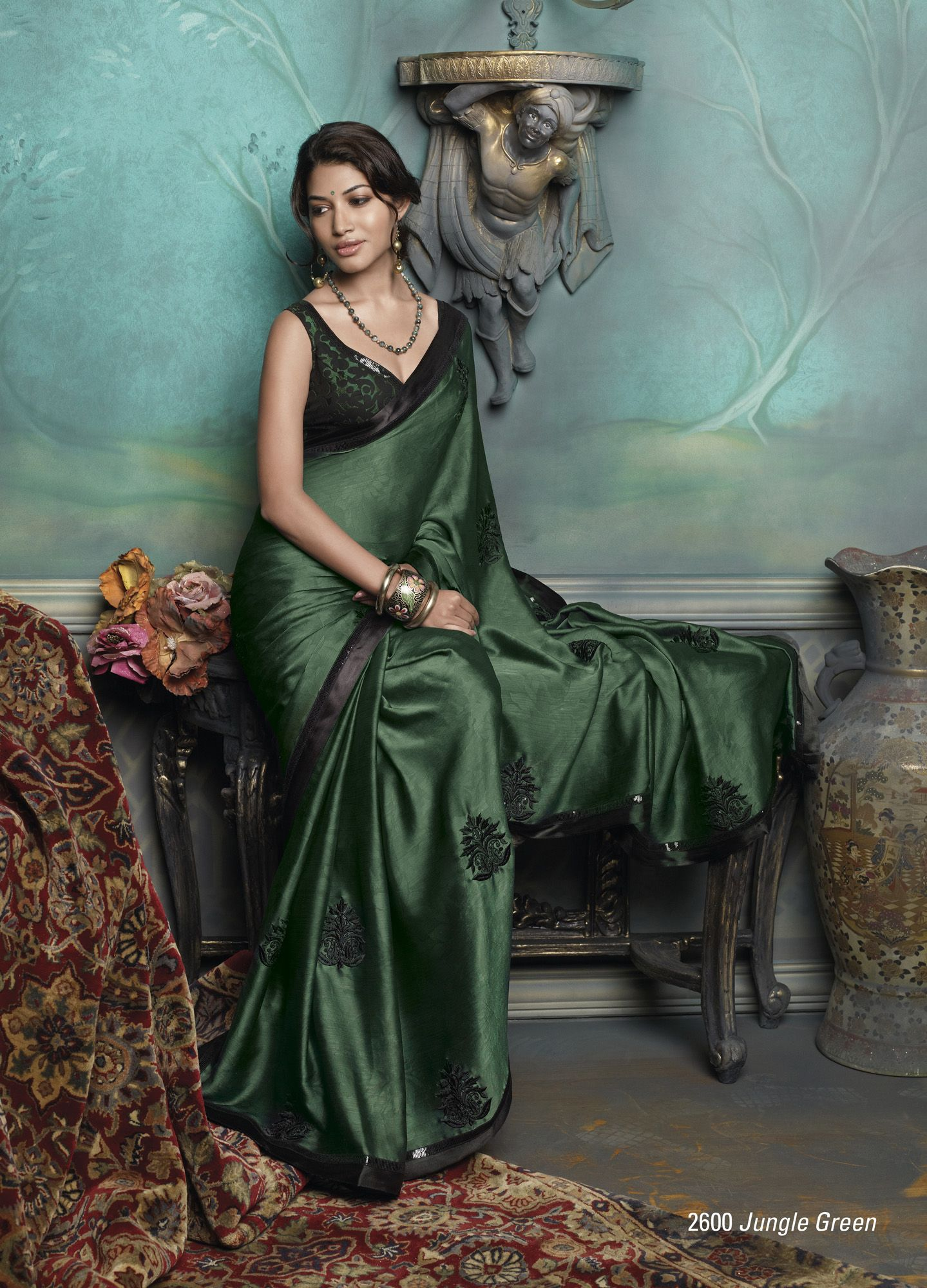 5b2579dea5a60 Satin Chiffon Material saree in dark green color with beautiful plain black  color border patta