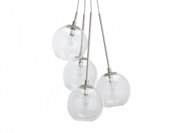 The Cluster Pendant features four glass globe lights at staggered heights; currently on sale for $159 at West Elm.