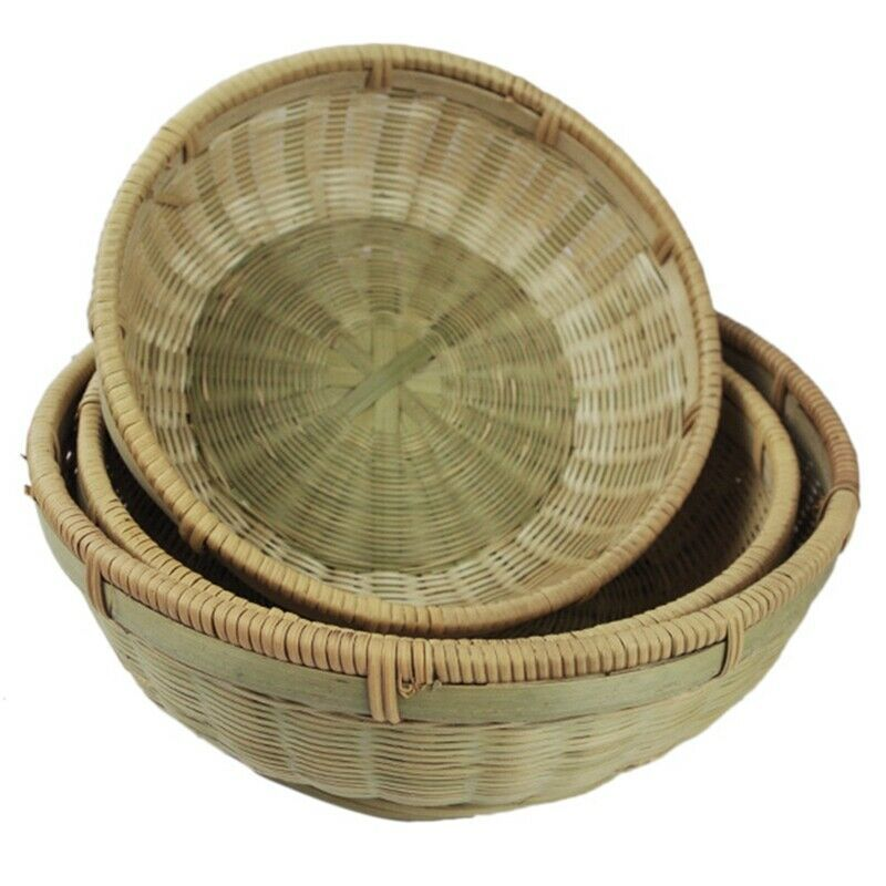 Ebay Sponsored Bambus Platte Hand Gewebte Speicher Korb Lebensmittel Runde Aufbewahrungs B C8v7 Korb Bambus Ebay