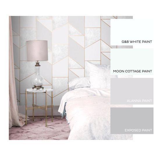 Color Block Geo Gray Rose Gold Wallpaper Grey And Gold Bedroom Rose Gold Wallpaper Rose Gold Bedroom