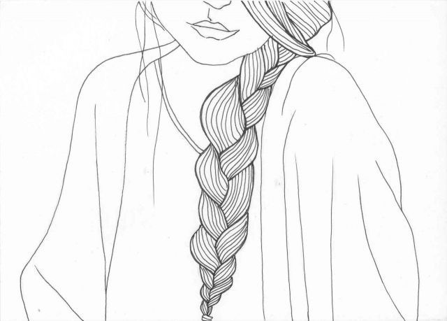Line Drawing Hair : Over shoulder braid line drawing hair styles