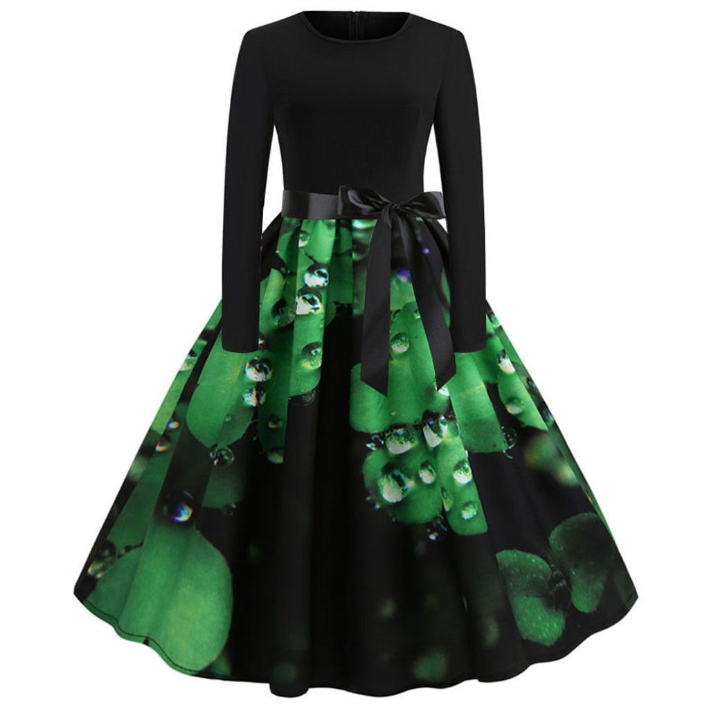 Women St Patrick's Day Long Sleeve Casual Evening Party Prom Swing Dress