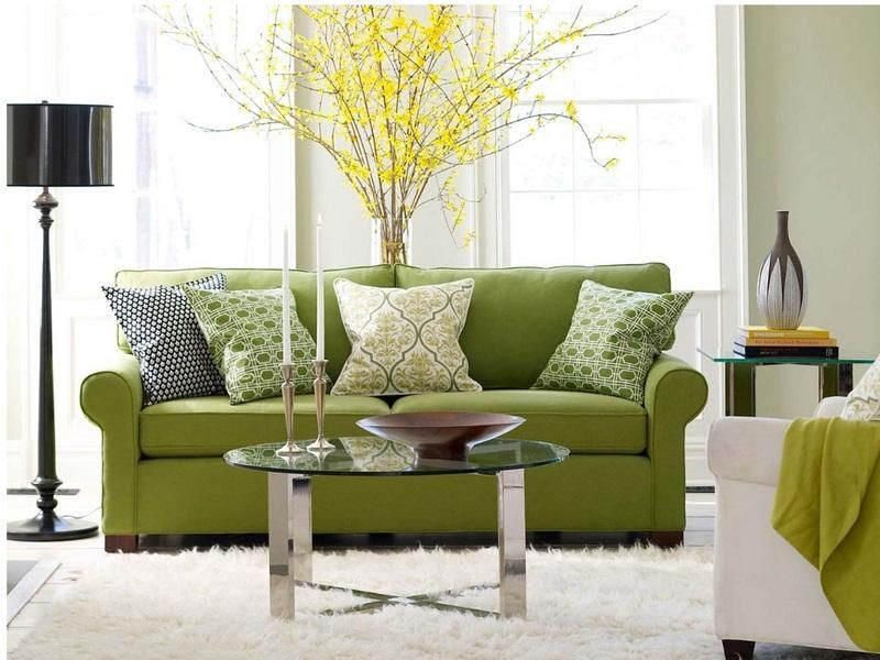 Decorations Accessories Living Room Comfy Green Modern Sofa