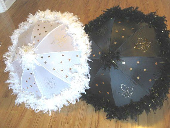 Bride and Groom Wedding Second Line Umbrellas- set of 2 LARGE umbrellas- GOLD ACCENTS, handpainted f #largeumbrella