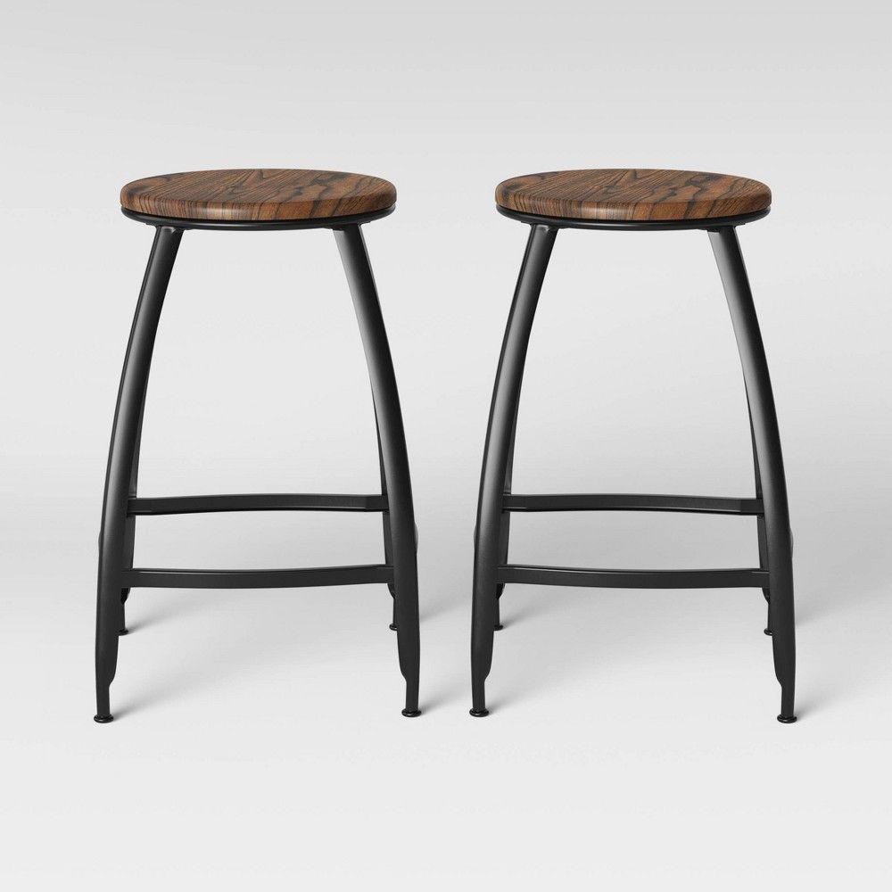Bethlehem Set Of 2 Metal Wood Seat Counter Stool Black Threshold Target Counter Stools Bar Stools Metal Wood Bar Stool Metal stool with wood seat