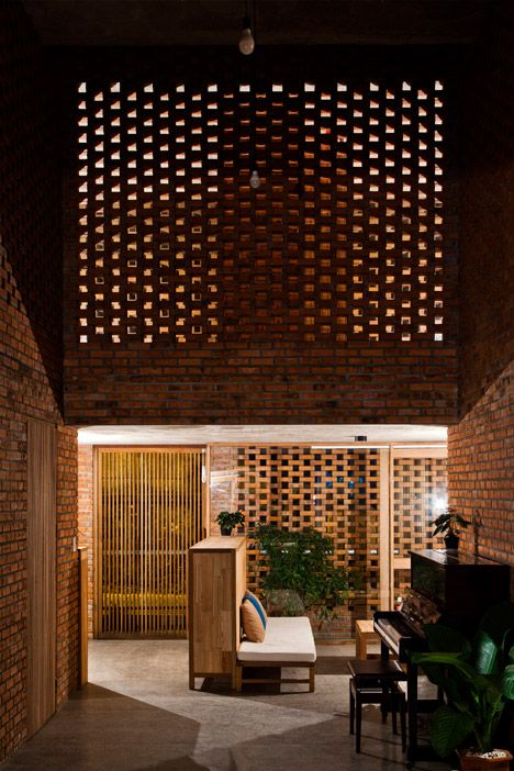 3novices Perforated Brick House By Tropical Space Is Based On Termites Nests Brick Interior Brick Architecture Building Design