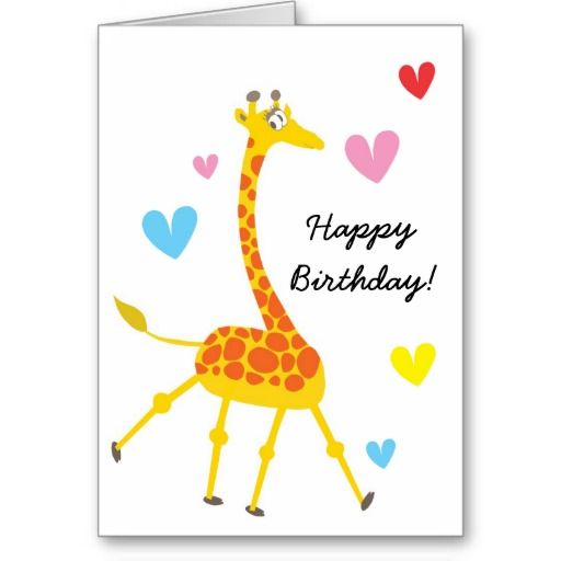 Cute Giraffe Birthday Card Zazzle Com Giraffe Birthday Happy Birthday Greeting Card Happy Birthday Greetings