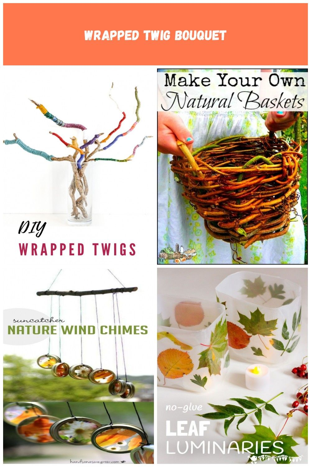 twig crafts - bright and colourful twig bouquet, wrapped twigs with yarn - use up your odds and ends of yarn with this scrap yarn project nature crafts Wrapped twig bouquet #twigcrafts
