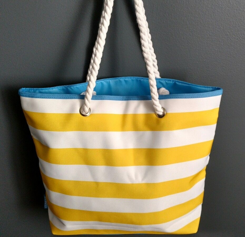 8f27fcb29b Clinique Summer Beach Canvas Tote Shopoer Bag Yellow White Stripes Blue New  2017