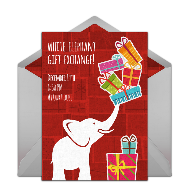 Free White Elephant Gift Exchange Invitations Free Party
