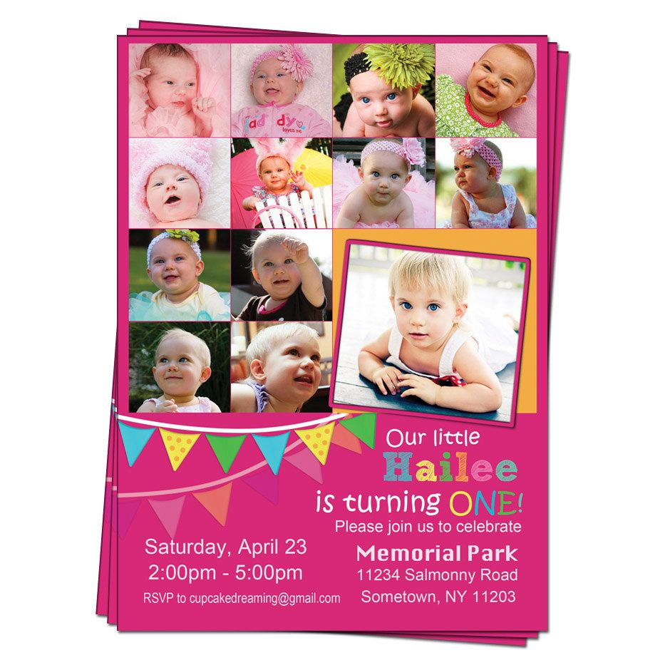 First 1st Birthday Invitations Photo Collage Printable Digital Party ...