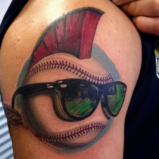 We Wear Caps And Tattoo Sleeves In This League Son This Kickass Major League Tattoo Is By Tommy Peters Inked I Baseball Tattoos Tattoos For Guys Tattoos