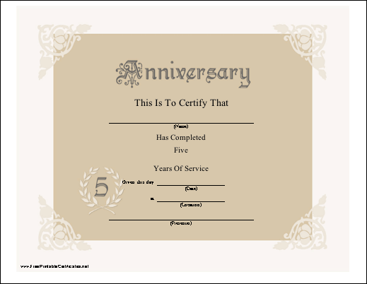 A pretty lacy anniversary certificate honoring 5 years of for Wedding anniversary certificate template