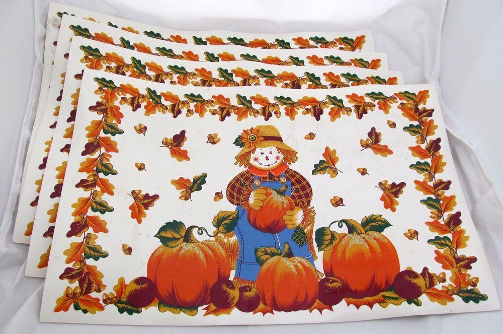 Set of 4 Scarecrow Fall Placemats Pumpkins Vinyl Harvest Autumn Thanksgiving  #Unbranded