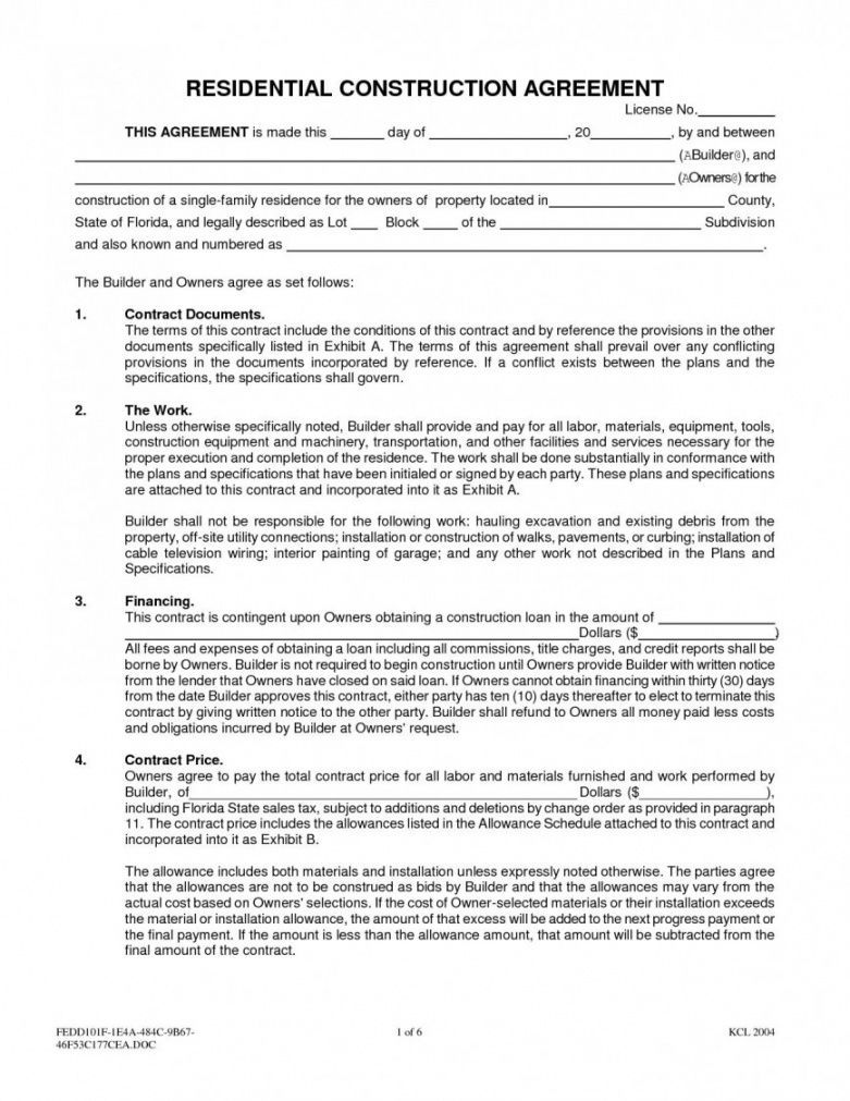 Residential Construction Proposal Template Construction Contract Roofing Contract Contract Template Construction contract template microsoft word