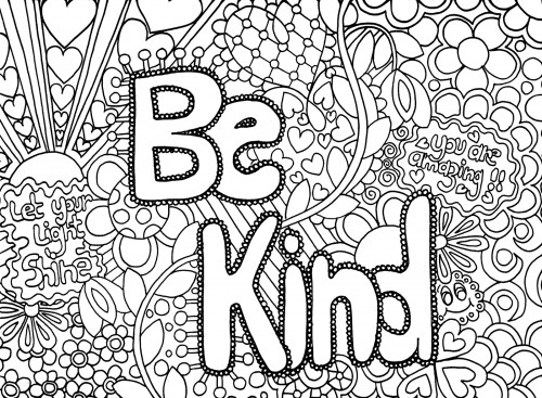 BE KIND Hard Coloring Pages | FREE ADULT COLORING PAGES | Pinterest ...