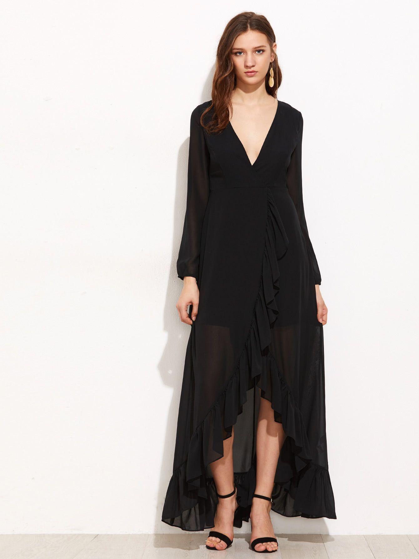 1b0489fa7b0 Black Deep V-Neck Lantern Sleeve Frill Trim Surplice Wrap Maxi Dress ...