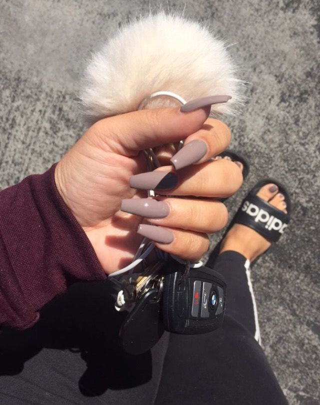 Taupe Coffin Nails Taupe Nails Best Acrylic Nails Acrylic Nail Designs