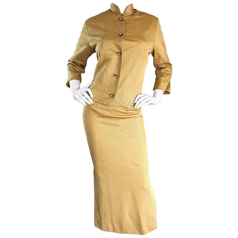cddfbe75165a 1960s Alfred Shaheen Gold Jersey Metallic Cheongsam 60s Dress And Cardigan  Set