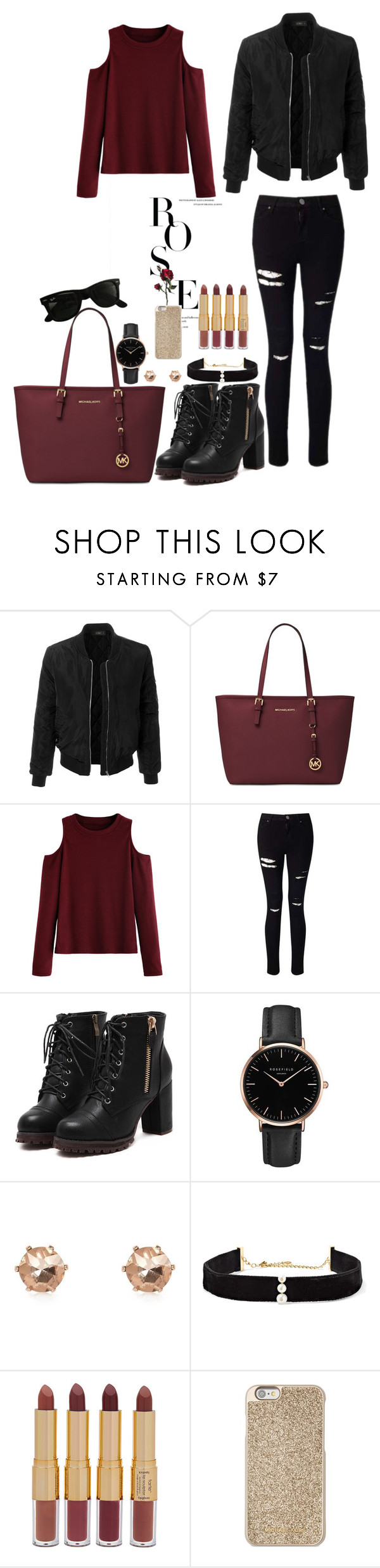 """""""wine red"""" by gorlmoria on Polyvore featuring LE3NO, Michael Kors, WithChic, Miss Selfridge, Topshop, River Island, Anissa Kermiche, tarte and Ray-Ban"""