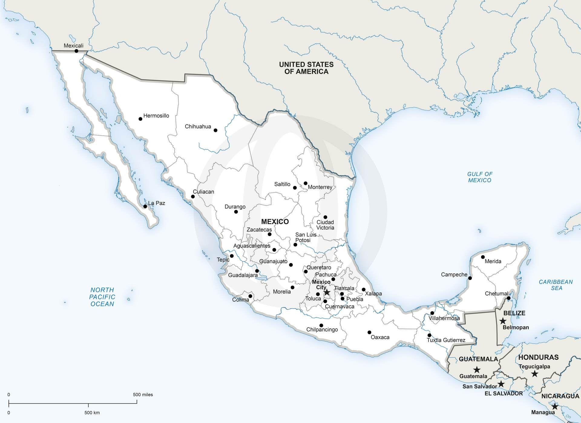 Vector Map Of Mexico Political