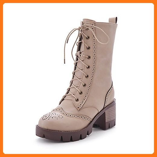 Women's Solid High Heels Round Closed Toe Pu Lace Up Boots