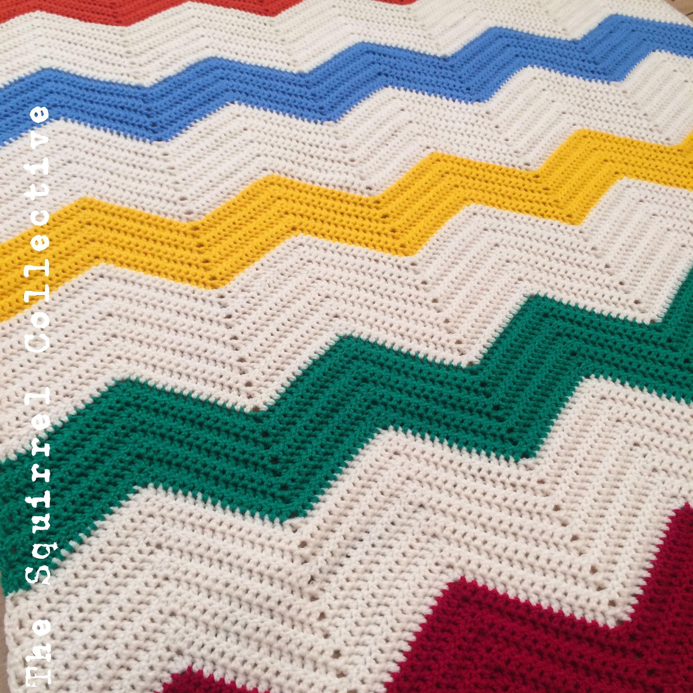 Rainbow chevron crochet baby blanket. www.facebook.com ...