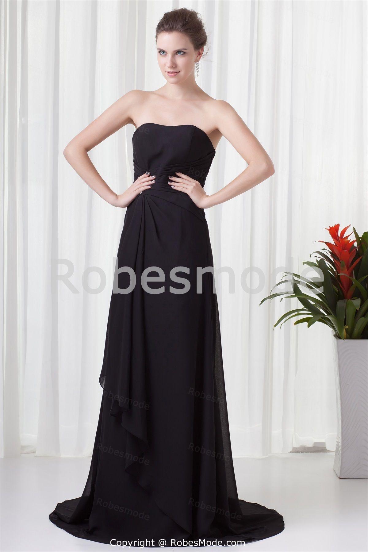 Robe de soirée noire simple aligne décoration perlée en mousseline