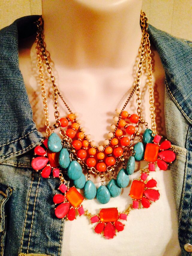 Sunset Necklace And Garden Party Necklace. Bright