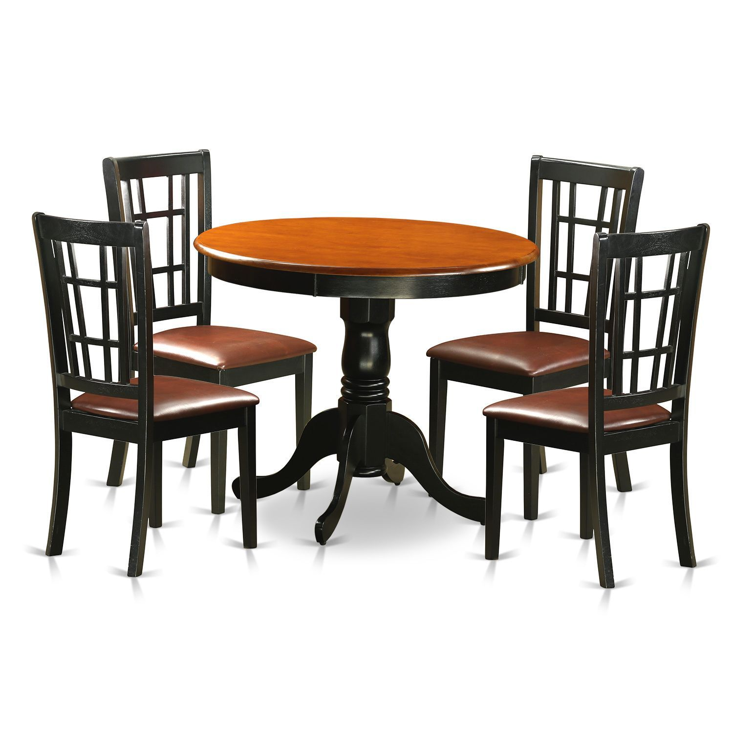 Round dining table and chairs for 4  Antique piece Dining Table with  Chairs Finished in Black and
