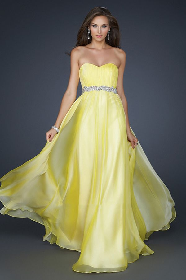 Yellow Strapless Prom Dress - Ocodea.com